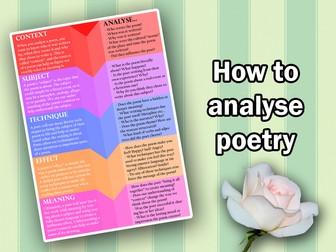 KS4 English GCSE - Analysing Poetry Flow-Sheet