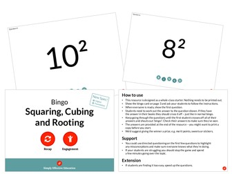 Squaring Cubing and Rooting (Bingo)
