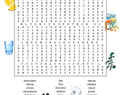 Nutrition Word Search Puzzle PLUS Fruits & Vegetables Word Search (2 Puzzles)
