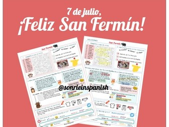 San Fermin worksheet with answers for self-correction