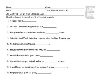 Adjectives Fill In The Blanks Exam