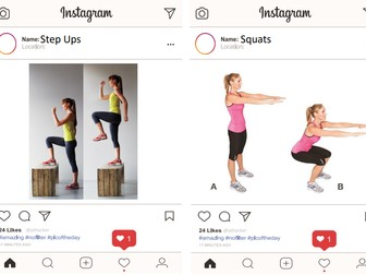 Instagram Fitness Circuit Cards