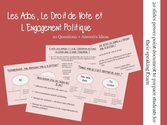 L'engagement politique - Questions/Answers for the speaking exam (A2 French politics)