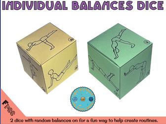 Gymnastics individual balance dice