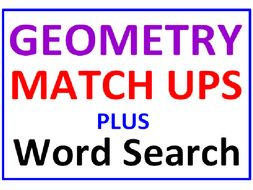 Geometry Match Ups PLUS Geometry Word Search Puzzle