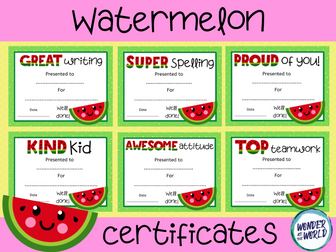 Watermelon theme class certificates to print or use online