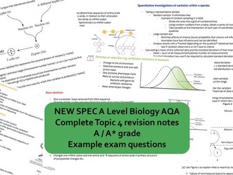 CONCISE A* AS Biology AQA Topic 4 Mark Scheme Revision Notes (protein synthesis, genetic diversity)