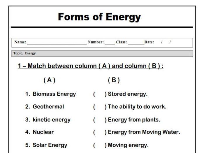light and energy worksheet | www.lightneasy.net