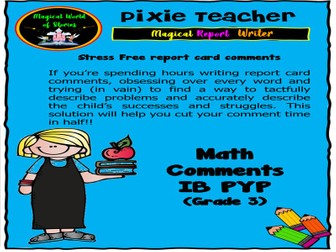Free IB PYP Report Card Comments - Math