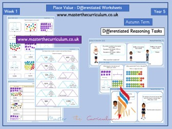 Year 5- Week 1  Place Value Differentiated Worksheets- White Rose Style