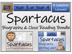 LKS2 Ancient Rome - Spartacus Reading Comprehension & Biography Bundle