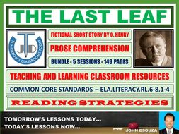 THE LAST LEAF - COMPREHENSION CLASSROOM RESOURCES - BUNDLE
