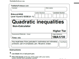 1 9 Gcse Exam Paper On Quadratic Inequalities Www