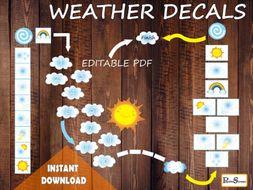 Colorful Weather Floor Path Set / Printable floor design for Nursery School