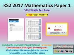 Fully Editable KS2 2017 Mathematics Paper 1 (+ FREE TARGET NUMBER 4)