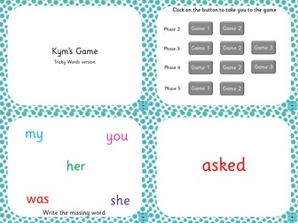 Phonics Tricky words - Kym's Game