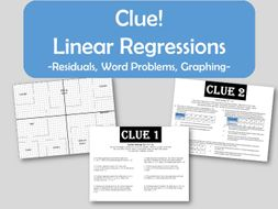 clue linear regression residuals word problems graphing by