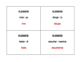 AR Verbs in Spanish Verbos AR Question Question Pass activity