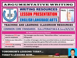 ARGUMENTATIVE WRITING - A READY TO USE LESSON PRESENTATION