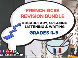French GCSE Resources Bundle - 19 Speaking Listening Vocab Writing Revision