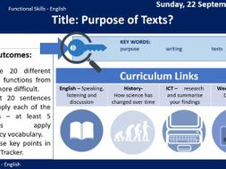Purpose of Texts - Functional Skills English