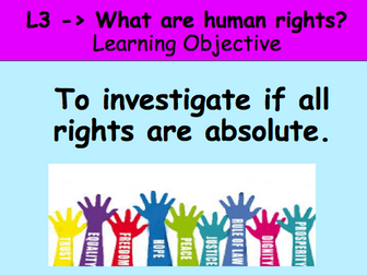 Human Rights - What is an absolute right? Complete y9 PSHE / Citizenship lesson