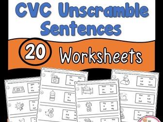 CVC Unscramble Sentences Worksheets