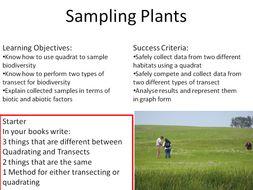 Sampling Plants New GCSE Bio Indoors/Outside