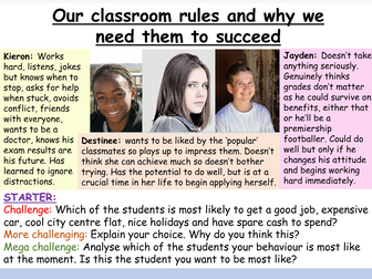 Classroom Rules : Behaviour + Achievement