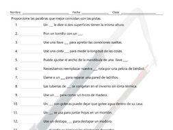 House Repairs, Tools, and Supplies Matching Spanish Worksheet