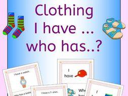 I have ... Who has ... Clothing vocabulary game (US English)