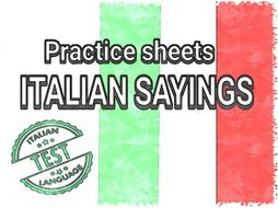 ITALIAN SAYINGS WORKSHEETS
