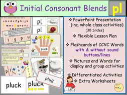 Phonics - Initial Consonant Blends Pl-CCVC Words, Presentation, Lesson,  Worksheets/Activities