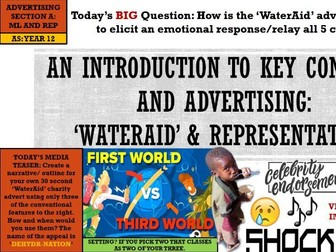 EDUQAS AS MEDIA, YEAR 12- ADVERTISING & MARKETING, 'WATERAID': REPRESENTATION (COMP 1 SEC A)