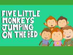 Music video for preschool children - 'Five Little Monkeys Jumping on the Bed'