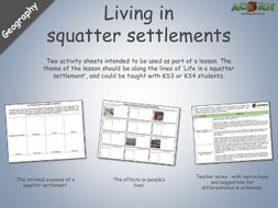 Geography - Living in squatter settlement - Activity sheets