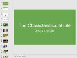 Characteristics of Life Lesson - Year 7 Science KS3 - PowerPoint