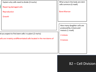 AQA GCSE 9-1 B2 Cell Division Revision Mat