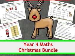 Christmas maths bundle - 4 differentiated activities - Y4