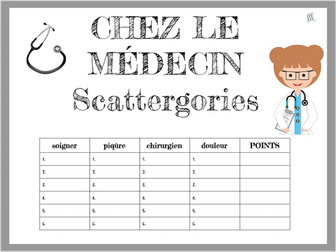 French Doctors and Hospitals Scattergories Game - Chez le Médecin