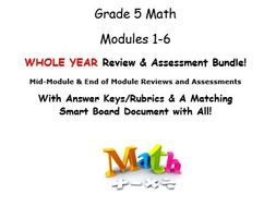 Grade 5 Math Modules 1-6 WHOLE YEAR Review & Assessment Bundle: Mid Mod & End of Mod