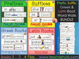 Prefix, Suffix, Greek and Latin Root Word Wall Bundle