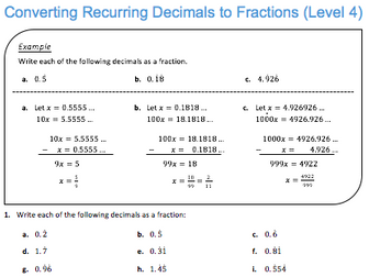 converting recurring decimals to fractions level  by jdstrauss  converting recurring decimals to fractions level  by jdstrauss   teaching resources  tes