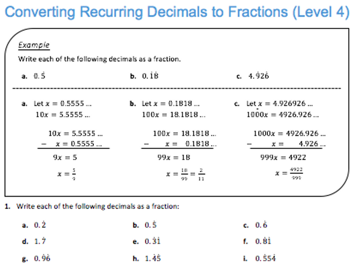math worksheet : converting recurring decimals to fractions level 4 by jdstrauss  : Recurring Decimals To Fractions Worksheet
