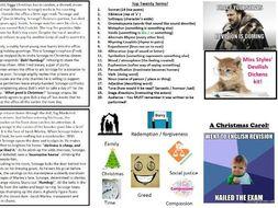 English Literature - Charles Dickens- A Christmas Carol GCSE revision key cards