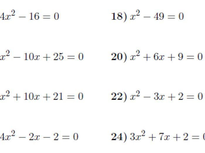 Solving Quadratic Equations Worksheet: Factoring & The Quadratic ...