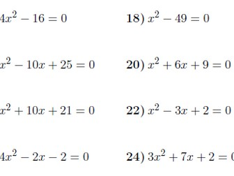 Linear and quadratic equations worksheets (with solutions) by ...