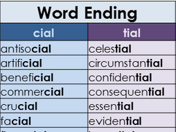 Suffix cial & tial Word Mat – Year 3 and 4 Spelling