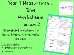 2 time years months weeks and days worksheets y4 by mrssbunny teaching resources. Black Bedroom Furniture Sets. Home Design Ideas