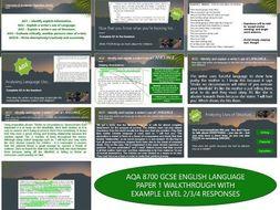AQA 8700/1 GCSE English Language - Complete Paper 1 Set - Bird Box Extract